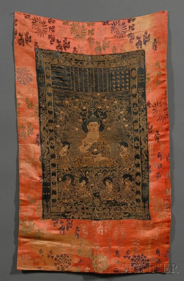 723A: Thangka, depiction of Buddha flanked by Bodhisatt