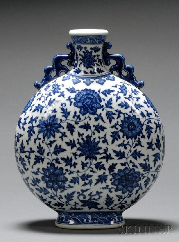 1238: Blue and White Moon Flask, China, Qianlong six-ch