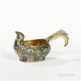 Russian .875 Silver-gilt and Cloisonné Enamel Kvosh,