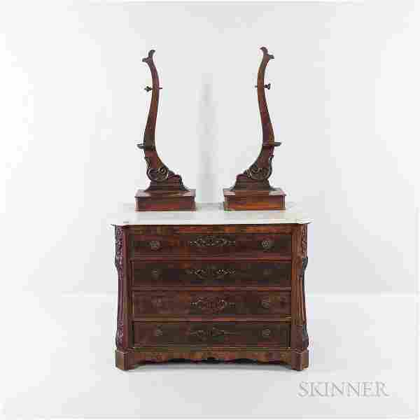 Victorian Marble-top Bureau with Carved Split-baluster