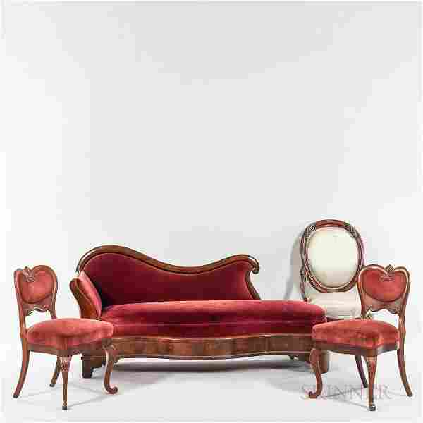 Victorian Upholstered Carved Walnut Seating Suite, 19th