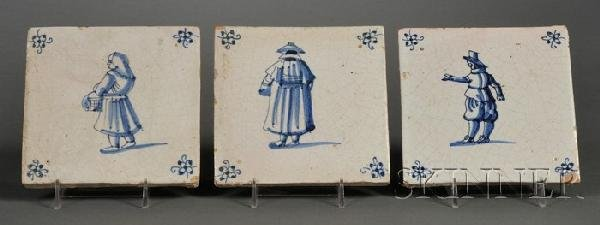 1: Ten Dutch Delft Tiles, Holland, 19th century, each d