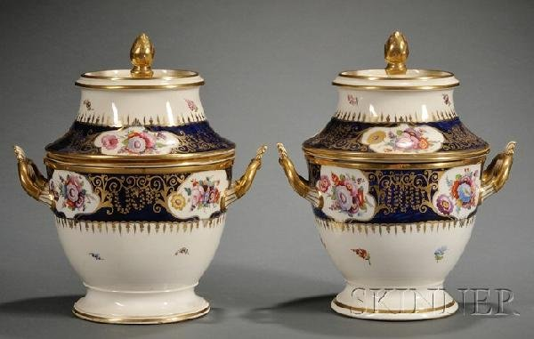 3: Pair of Regency Enamel Decorated and Parcel-gilt Por