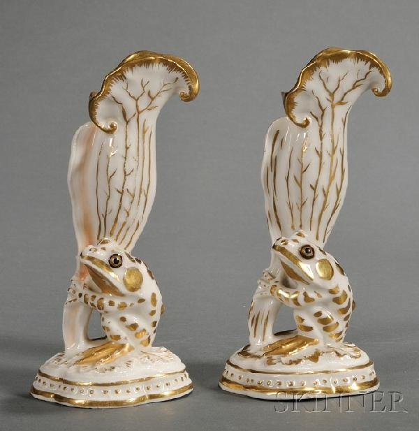 9: Two Similar Union Porcelain Frog Vases, Greenpoint,