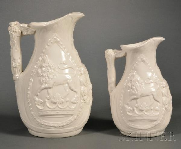 13: Two Josiah Wedgwood Commemorative Jugs, England, 19