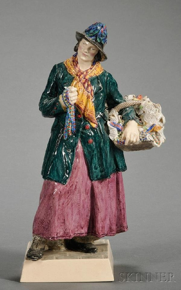 18: Charles Vyse Earthenware Figure of a Woman Peddler,