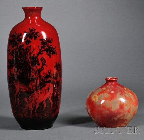 21: Two Royal Doulton Flambe Vases, England, 20th centu