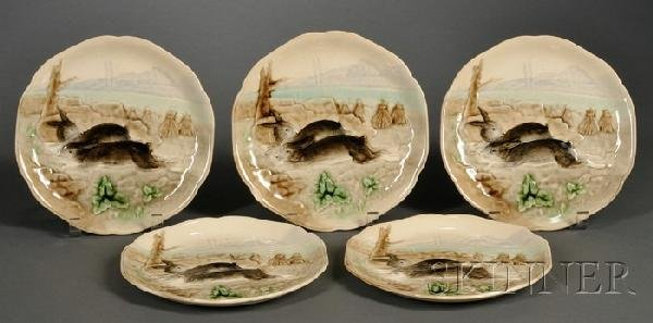23: Five Majolica Rabbit Plates, France, c. 1900, each