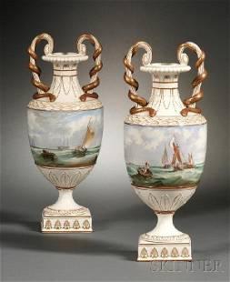 291: Pair of Wedgwood Marine Decorated Pearlware Vases,