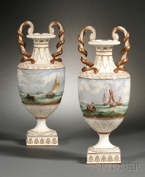 291: Pair of Wedgwood Marine Decorated Pearlware Vases,