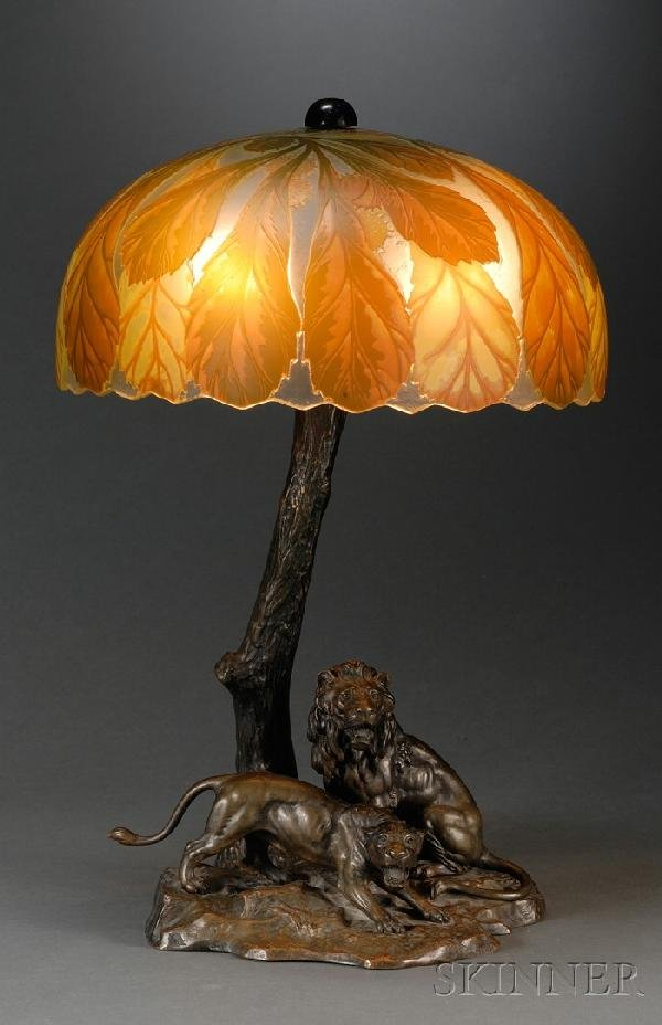 472: Continental Bronze Lamp Base with Cameo Glass Shad