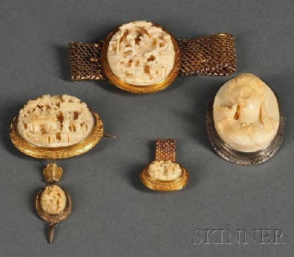 550: Four Carved Ivory-mounted Jewelry Items, two Victo