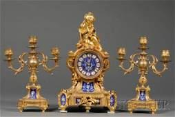 959 Three Piece Louis XV Style Gilt Bronze and Porcela