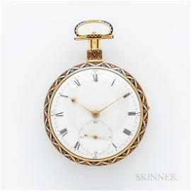 Ilbery No. 5966 Gold and Enamel Pocket Chronometer