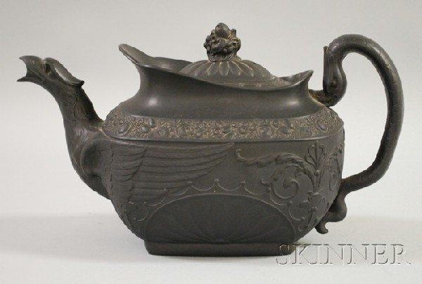 502: Black Basalt Teapot, unmarked, (spout with nicks).