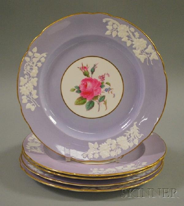 504: Set of Five Spode Copeland Lavender Banded and Ros