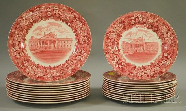 506: Set of Twenty-one Wedgwood Red and White College T