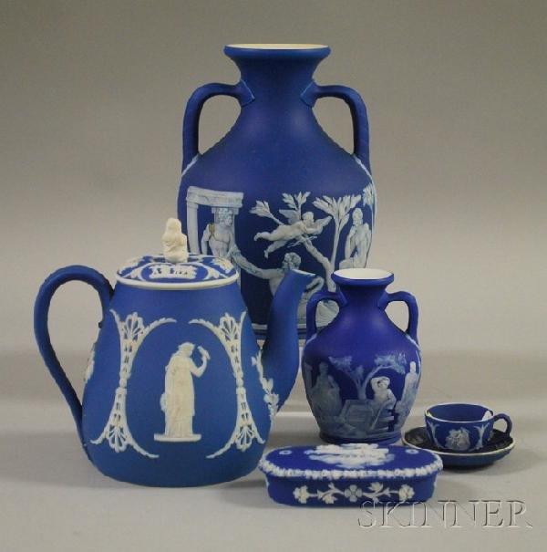 507: Six Wedgwood Dark Blue Jasper Dip Items, a Portlan