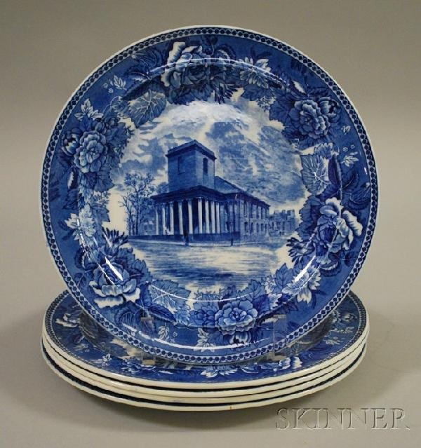 511: Five Wedgwood Blue and White Historical Transfer D