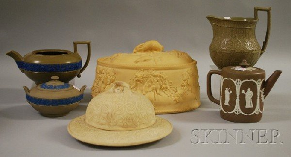 514: Five Wedgwood Dry Body Wares and a Caneware Covere