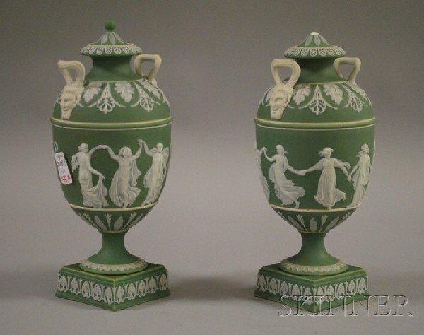 515: Pair of Wedgwood Green Jasper Dip Vases and Covers