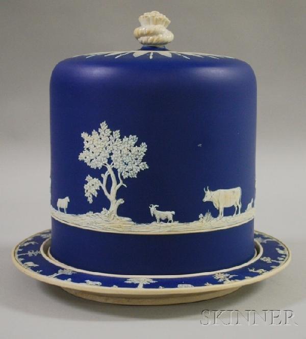 519: Large English Dark Blue Jasper Dip Cheese Dish and