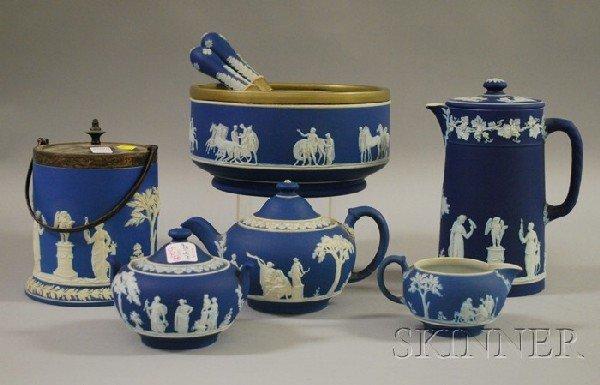 521: Eight Pieces of Wedgwood Dark Blue Jasper Dip Tabl