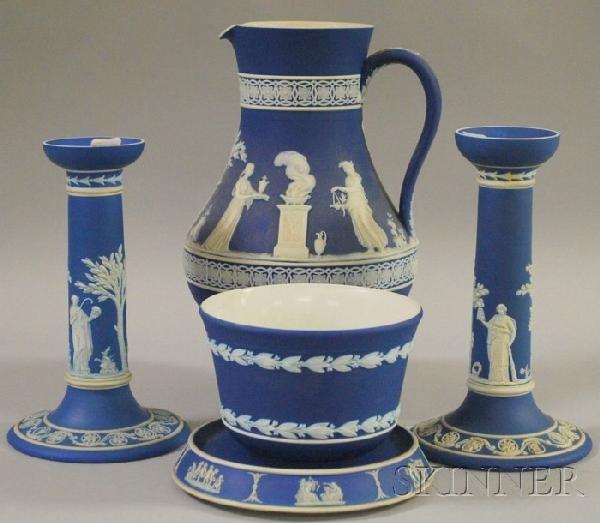 524: Five Wedgwood Dark Blue Jasper Dip Items, a pair o