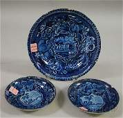 577: Blue Transfer-decorated Staffordshire Pottery Sala