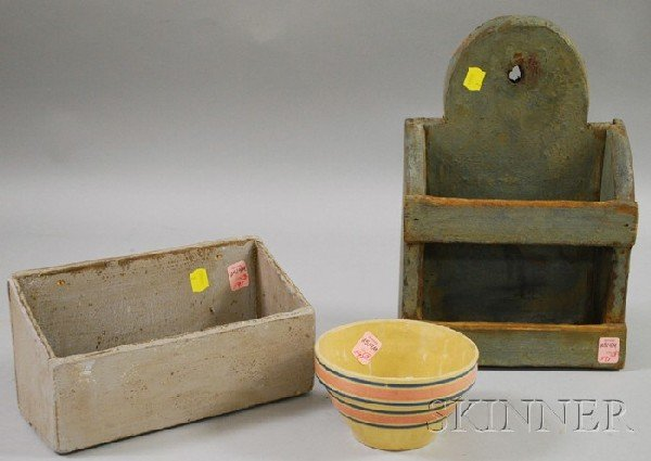 591: Two Small Painted Wooden Wall Boxes and a Small Ba