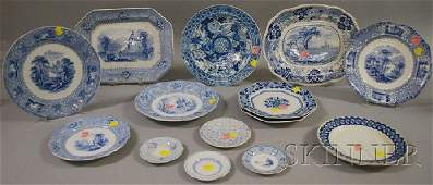 601 Fourteen Pieces of Blue and White Staffordshire Tr