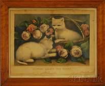 1090 Birdseye Maple Framed Currier  Ives Handcolor