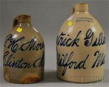 1190: Two Cobalt Advertising Decorated Stoneware Jugs,