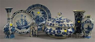 1198: Seven Assorted Blue and White Decorated Ceramic T