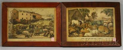 1447 Two Framed Currier  Ives Handcolored Lithograph