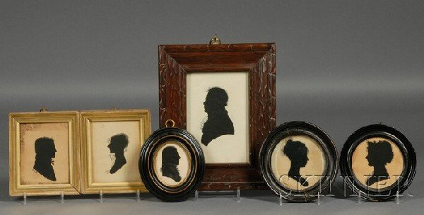 2: Six Framed Hollow-cut Silhouettes, America, late 18t
