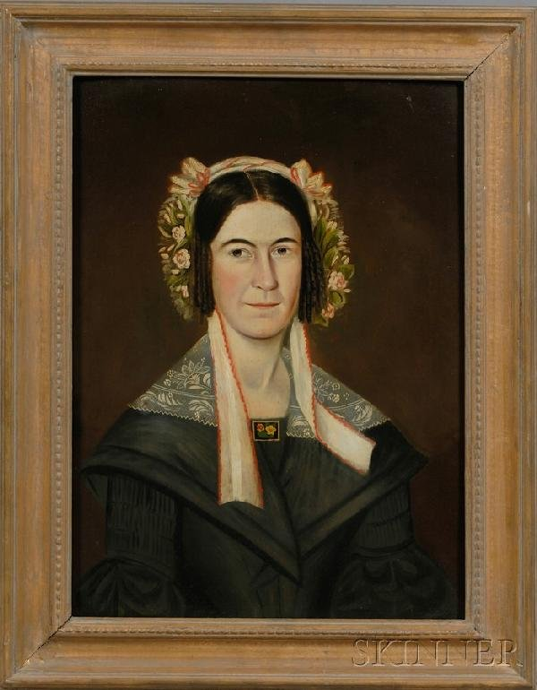 9: American School, 19th Century Portrait of a Woman We