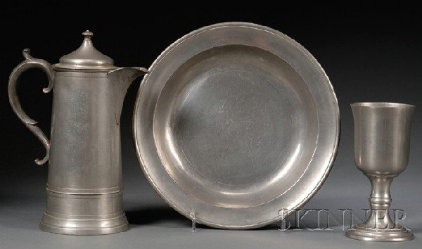 10: Pewter Flagon, Chalice, and Deep Dish, America, lat