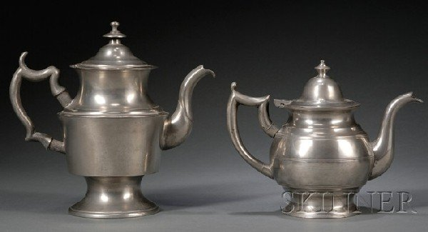 11: Two Pewter Teapots, America, early 19th century, on
