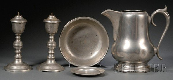 12: Five Pewter Items, America, 19th century, a water p
