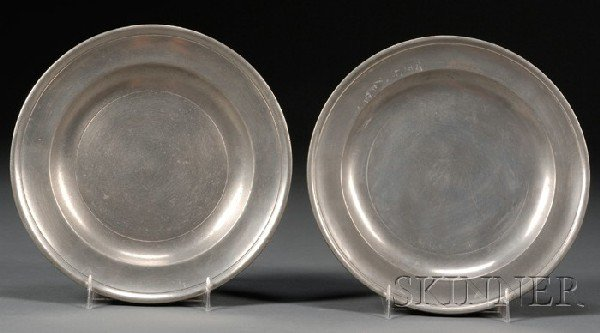 16: Two Pewter Plates, America, late 18th century, the
