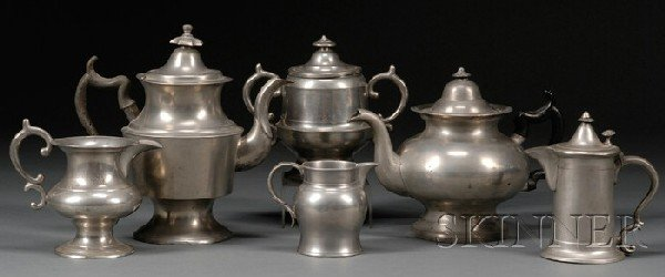 17: Six Pewter Items, America and England, late 18th to