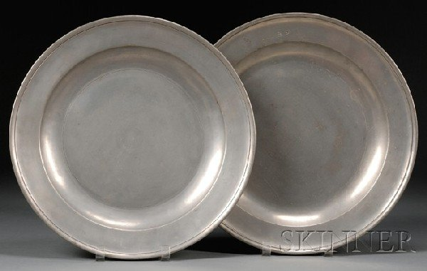21: Two Pewter Chargers, Edgar Curtis and Samuel Ellis,