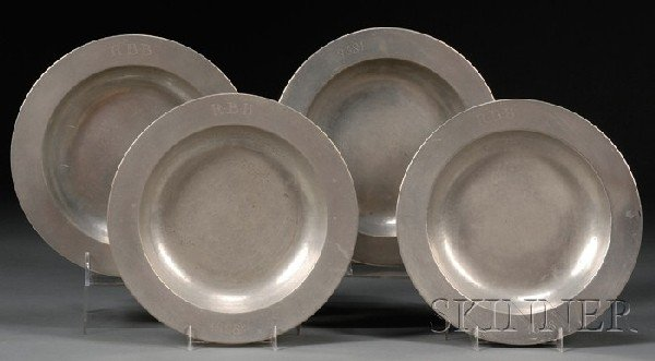22: Four Pewter Deep Dishes, Samuel Cocks, London, c. 1