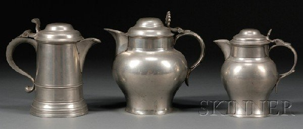 23: Two Pewter Pitchers and a Flagon, England or Americ