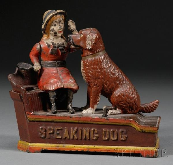 "30: ""Speaking Dog"" Cast Iron Mechanical Bank, Shepard H"