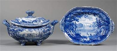 184: Blue Transfer-decorated Staffordshire Pottery Soup