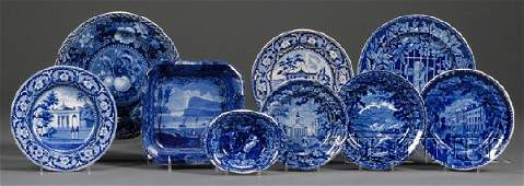 196: Nine Blue Transfer-decorated Staffordshire Pottery