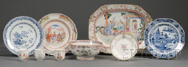 283: Nine Chinese Export Porcelain Table Items, late 18
