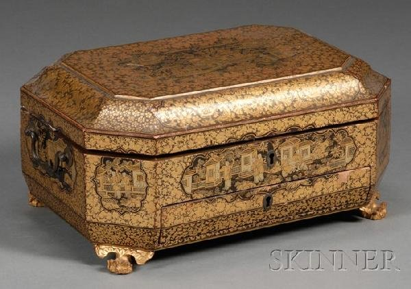 294: Chinese Gilt Lacquer Sewing Box with Ivory Sewing